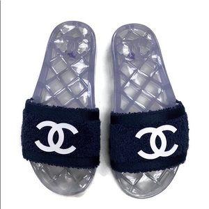 Chanel Logo Pool Slides Navy White